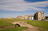 Golfing the special Swilcan Bridge on the 18th hole at the world famous St Andrews Old Golf Course Scotland
