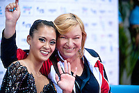 "September 09, 2015 - Stuttgart, Germany - (L-R) SERENA LU with coach NATALIYA KIRIYENKO USA wave from ""kiss & cry"" after performing in AA qualifications at 2015 World Championships"