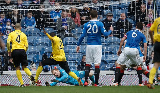Ibra Sekajja scores the equaliser for Livingston past Rangers keeper Lee Robinson