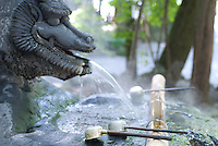 A carved dragon's head spouts steaming hot springs water at the chozuya or hand-washing trough at Akimiya, Suwa Taisha, Shimosuwa, Nagano, Japan. September 4 2008
