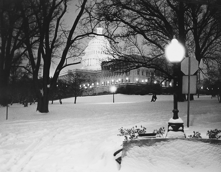 Snow storm near Capitol Hill. (Photo by CQ Roll Call via Getty Images)