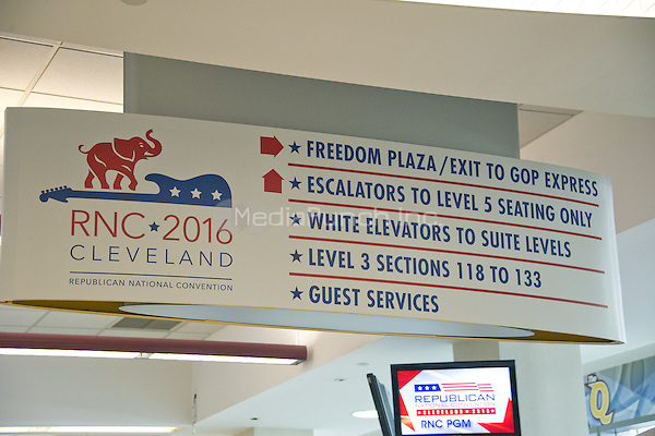 Directional signage inside the Quicken Loans Arena in Cleveland, Ohio, site of the 2016 Republican National Convention on Saturday, July 17, 2016.<br /> Credit: Ron Sachs / CNP/MediaPunch<br /> (RESTRICTION: NO New York or New Jersey Newspapers or newspapers within a 75 mile radius of New York City)