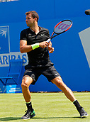 June 19th 2017, Queens Club, West Kensington, London; Aegon Tennis Championships, Day 1; Number six seed Grigor Dimitrov (BUL) hits a forehand during his first round singles match against Ryan Harrison (USA); Dimitrov won in straight sets