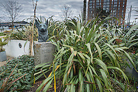 State of Petra, the original Blue Peter Dog, in The Blue Peter Garden at Media City, Salford, Manchester.