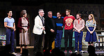 "Michael Hsu Rosen, Mercedes Ruehl, Moises Kaufman, Harvey Fierstein, Michael Urie, Ward Horton, Jack DiFalco and Roxanna Hope Radja  during the Broadway Opening Night Curtain Call for ""Torch Song"" at the Hayes Theater on November 1, 2018 in New York City."
