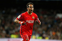 Barcelona´s Claudio Bravo celebrates a goal during 2015-16 La Liga match between Real Madrid and Barcelona at Santiago Bernabeu stadium in Madrid, Spain. November 21, 2015. (ALTERPHOTOS/Victor Blanco) /NortePhoto