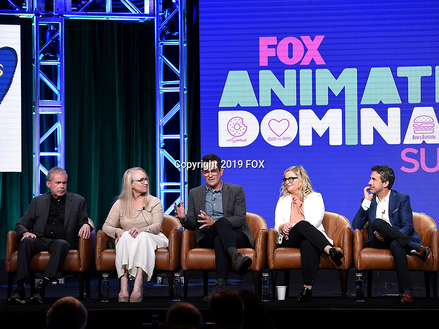 2019 FOX SUMMER TCA: (L-R): DUNCANVILLE Co-Creator/Writer/Executive Producers Mike Scully and Julie Scully, cast member Ty Burrell, and cast member/Co-Creator/Writer/Executive Producer Amy Poehler, and FOX Entertainment, President Entertainment Michael Thorn during the ANIMATION DOMINATION: BLESS THE HARTS/DUNCANVILLE panel at the 2019 FOX SUMMER TCA at the Beverly Hilton Hotel, Wednesday, Aug. 7 in Beverly Hills, CA. CR: Frank Micelotta/FOX/PictureGroup