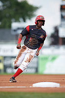 Batavia Muckdogs second baseman Samuel Castro (5) running the bases during the first game of a doubleheader against the Williamsport Crosscutters on August 20, 2017 at Dwyer Stadium in Batavia, New York.  Batavia defeated Williamsport 6-5.  (Mike Janes/Four Seam Images)