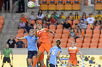 Houston, TX - Friday April 29, 2016: Erica Skroski (8) of Sky Blue FC and Poliana (2) of the Houston Dash go up for a header at BBVA Compass Stadium. The Houston Dash tied Sky Blue FC 0-0.