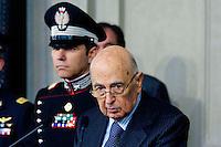 Roma, 30 Marzo 2013.Quirinale.Il Presidente della Repubblica Giorgio Napolitano comunica alla stampa le decisioni  per il futuro Governo..