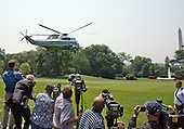 Marine 1, with United States President Barack Obama aboard, departs the South Lawn of the White House in Washington, DC en route Nashville, Tennessee for an event on the Affordable Care Act on Wednesday, July 1, 2015.<br /> Credit: Ron Sachs / Pool via CNP