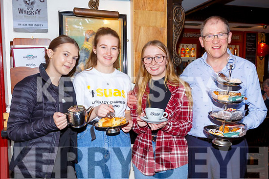 Sarah Walsh, Rebecca Murphy, Elaina Galvin and Sean Murphy at the Rebecca Murphy coffee morning to raise funds for India in Murphy's bar on Saturday