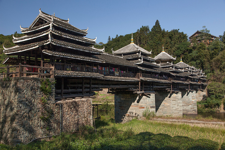 Chengyang boasts of the largest Wind & Rain bridge of the Dong stockade villages, built in 1916.