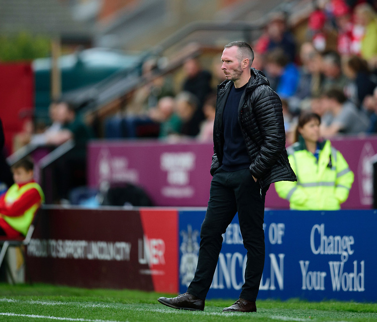 Lincoln City manager Michael Appleton in his technical area<br /> <br /> Photographer Andrew Vaughan/CameraSport<br /> <br /> The EFL Sky Bet League One - Lincoln City v Sunderland - Saturday 5th October 2019 - Sincil Bank - Lincoln<br /> <br /> World Copyright © 2019 CameraSport. All rights reserved. 43 Linden Ave. Countesthorpe. Leicester. England. LE8 5PG - Tel: +44 (0) 116 277 4147 - admin@camerasport.com - www.camerasport.com