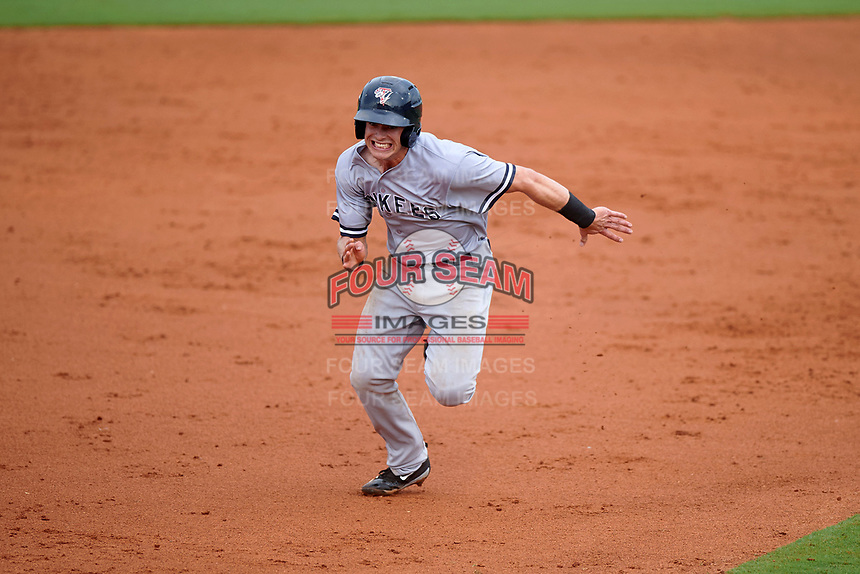 Tampa Yankees second baseman Nick Solak (39) running the bases during the first game of a doubleheader against the Charlotte Stone Crabs on July 18, 2017 at Charlotte Sports Park in Port Charlotte, Florida.  Charlotte defeated Tampa 7-0 in a game that was originally started on June 29th but called to inclement weather.  (Mike Janes/Four Seam Images)