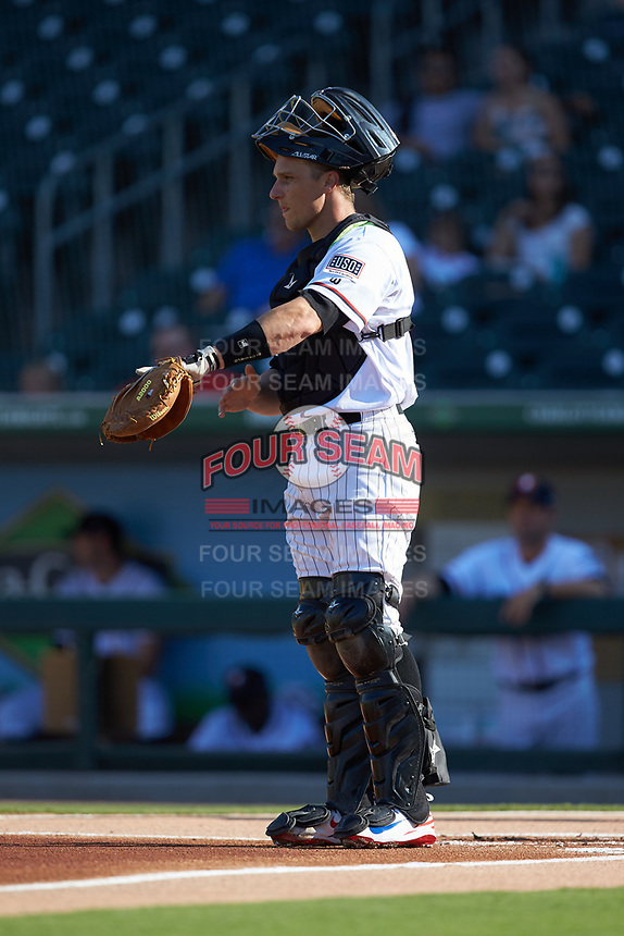 Charlotte Knights catcher Dustin Garneau (21) on defense against the Durham Bulls at BB&T BallPark on July 4, 2018 in Charlotte, North Carolina. The Knights defeated the Bulls 4-2.  (Brian Westerholt/Four Seam Images)