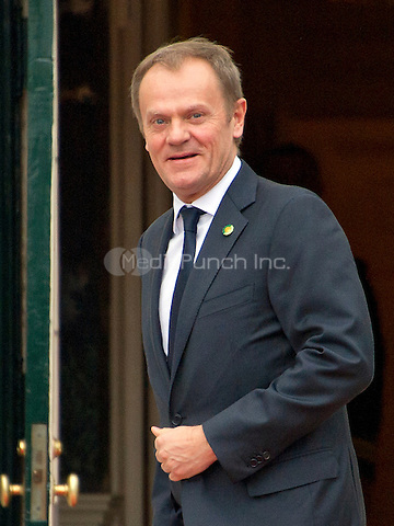Donald Tusk (Poland), President of the European Council arrives for the working dinner for the heads of delegations at the Nuclear Security Summit on the South Lawn of the White House in Washington, DC on Thursday, March 31, 2016.<br /> Credit: Ron Sachs / Pool via CNP/MediaPunch
