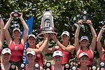 MAY 28, 2016: Second place Bates College hold up their trophy at Lake Natoma in Gold River, Ca. on Saturday May 28, 2016