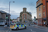 Pictured: Fire service personnel at the scene. Sunday 08 September 2019<br /> Re: Fire service and police attend a fire at the Palace Theatre, a dilapidated building in the High Street of Swansea, Wales, UK.