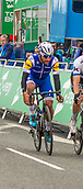 6th September 2017, Mansfield, England; OVO Energy Tour of Britain Cycling; Stage 4, Mansfield to Newark-On-Trent;  Fernando Gaviria team leader of Quick Step Floors ( blue/yellow, middle) wins stage 4 into Newark