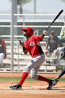 Yorman Rodriguez #40 of the Cincinnati Reds plays in a minor league spring training game against the Cleveland Indians at the Reds minor league complex on March 27, 2011  in Goodyear, Arizona. .Photo by:  Bill Mitchell/Four Seam Images.