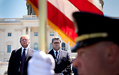 United States President Donald J. Trump (L) and Attorney General William Barr stand for the presentation of colors during the 38th annual National Peace Officers' Memorial Service, at the U.S. Capitol in Washington, D.C. on May 15, 2019. <br /> Credit: Kevin Dietsch / Pool via CNP