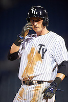 Tampa Yankees left fielder Zack Zehner (36) during a game against the Bradenton Marauders on April 11, 2016 at George M. Steinbrenner Field in Tampa, Florida.  Tampa defeated Bradenton 5-2.  (Mike Janes/Four Seam Images)