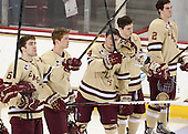 Patrick Wey (BC - 6), Michael Matheson (BC - 5), Teddy Doherty (BC - 4), Patch Alber (BC - 3), Colin Sullivan (BC - 2) - The Boston College Eagles defeated the visiting University of Vermont Catamounts to sweep their quarterfinal matchup on Saturday, March 16, 2013, at Kelley Rink in Conte Forum in Chestnut Hill, Massachusetts.