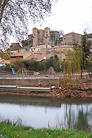 Chateau and village. Argens-Minervois. Languedoc. France. Europe.