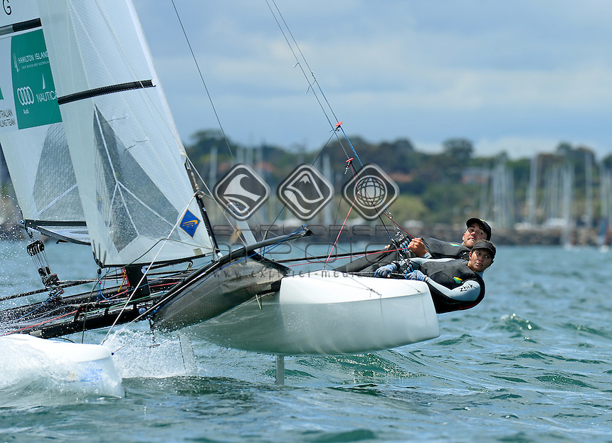 Jason Waterhouse & Lisa Darmann<br /> Racing -Day 1 / Nacra - 17<br /> ISAF Sailing World Cup - Melbourne<br /> Sandringham Yacht Club<br /> Monday 8 December 2014<br /> © Sport the library / Jeff Crow