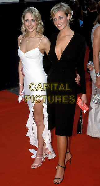 ELIZE DU TOIT..TV Baftas ..Ref:  11584..hollyoaks, white strappy dress, ruffles, slit, black dress, plunging neckline..www.capitalpictures.com..sales@capitalpictures.com..©Capital Pictures..full length, full-length