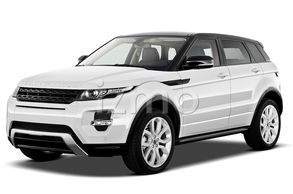 Front three quarter view of a 2011 Land Rover Range Rover Evoque SUV..
