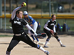 Western Nevada's Kristina George pitches against Salt Lake Community College at Edmonds Sports Complex in Carson City, Nev., on Friday, April 15, 2016. <br />Photo by Cathleen Allison