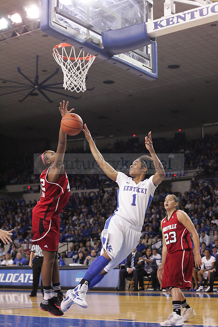 UK guard A'dia Mathies attempts to shoot the ball during the second half of the UK Women's basketball game against Louisville on 12/4/11 in Lexington, Ky. Photo by Quianna Lige | Staff