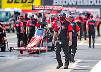 Jul 12, 2020; Clermont, Indiana, USA; Crew member Bobby Lagana for NHRA top fuel driver Billy Torrence during the E3 Spark Plugs Nationals at Lucas Oil Raceway. This is the first race back for NHRA since the start of the COVID-19 global pandemic. Mandatory Credit: Mark J. Rebilas-USA TODAY Sports