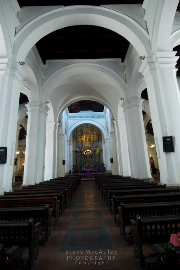Interior of Iglesia Catedral, (Metropolitan Cathedral)  Casco Viejo,  Panama