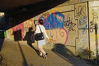 - Milan, underpass of Maggi square highway overpass....- Milano, sottopassaggio del cavalcavia autostradale di piazza Maggi