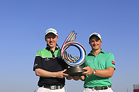 Team Ireland / Paul Dunne &amp; Gavin Moynihan, with the trophy during day 2 of the GolfSixes played at The Centurion Club, St Albans, England. <br /> 06/05/2018.<br /> Picture: Golffile | Phil Inglis<br /> <br /> <br /> All photo usage must carry mandatory copyright credit (&copy; Golffile | Phil Inglis)