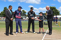 ANZ coin toss winner, Nathan Broadhurst, age 10, presents the coin to New Zealand captain Kane Williamson. New Zealand Blackcaps v England. One Day International Cricket. Seddon Park, Hamilton, New Zealand on Sunday 25 February 2018.<br /> <br /> Copyright photo: &copy; Bruce Lim / www.photosport.nz