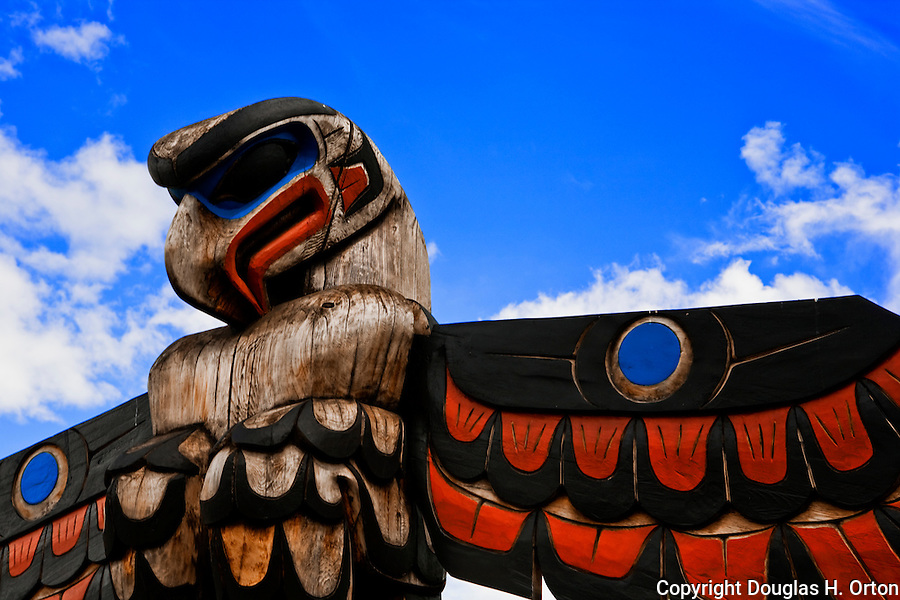 Native art on display in the Totem Pole Park in Duncan, British Columbia the City of Totems near Lake Cowichan displays native art and preserves heritage of the First People of British Columbia.  Displayed in Quw'ustsun' Cultural Center.