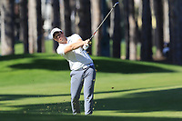 Sam Horsfield (ENG) plays his 2nd shot on the 3rd hole during Saturday's Round 3 of the 2018 Turkish Airlines Open hosted by Regnum Carya Golf &amp; Spa Resort, Antalya, Turkey. 3rd November 2018.<br /> Picture: Eoin Clarke | Golffile<br /> <br /> <br /> All photos usage must carry mandatory copyright credit (&copy; Golffile | Eoin Clarke)