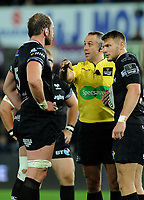 Referee John Lacey speaks to Ospreys' Alun Wyn Jones'<br /> <br /> Photographer Ashley Crowden/CameraSport<br /> <br /> Guinness Pro14 Round 6 - Ospreys v Scarlets - Saturday 7th October 2017 - Liberty Stadium - Swansea<br /> <br /> World Copyright &copy; 2017 CameraSport. All rights reserved. 43 Linden Ave. Countesthorpe. Leicester. England. LE8 5PG - Tel: +44 (0) 116 277 4147 - admin@camerasport.com - www.camerasport.com