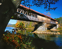 USA, New Hampshire, Blair Bridge spanning the Pemigewasset River in Campton.