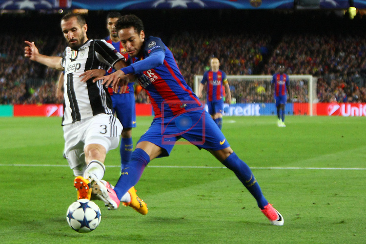 UEFA Champions League 2016/2017.<br /> Quarter-finals 2nd leg.<br /> FC Barcelona vs Juventus Football Club: 0-0.<br /> Giorgio Chiellini vs Neymar Jr.