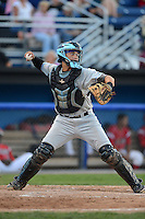 Batavia Muckdogs catcher Oscar Hernandez (28) during a game against the Hudson Valley Renegades on August 6, 2013 at Dwyer Stadium in Batavia, New York.  Batavia defeated Hudson Valley 4-3.  (Mike Janes/Four Seam Images)