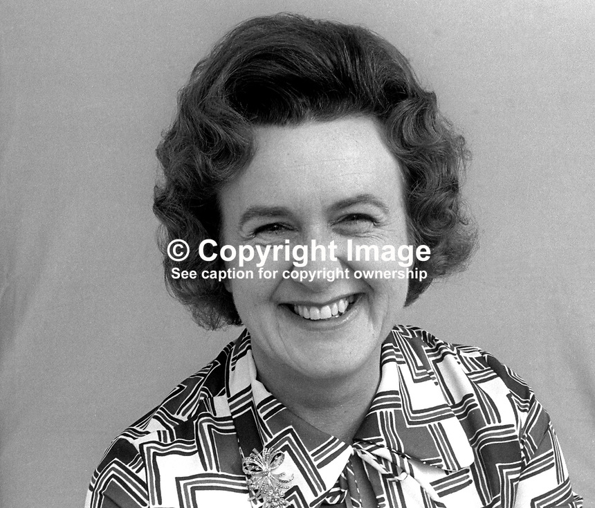 Mrs Maureen McClure, candidate, Ulster Unionist, North Down, N Ireland, Assembly Election, June, 1973, 197305000311<br /> <br /> Copyright Image from Victor Patterson, 54 Dorchester Park, Belfast, UK, BT9 6RJ<br /> <br /> t1: +44 28 9066 1296 (from Rep of Ireland 048 9066 1296)<br /> t2: +44 28 9002 2446 (from Rep of Ireland 048 9002 2446)<br /> m: +44 7802 353836<br /> <br /> e1: victorpatterson@me.com<br /> e2: victorpatterson@gmail.com<br /> <br /> The use of my copyright images is subject to my Terms &amp; Conditions.<br /> <br /> It is IMPORTANT that you familiarise yourself with them. They are available on my website at www.victorpatterson.com.<br /> <br /> None of my copyright images may be used on a website unless they are visibly watermarked, i.e. &copy; Victor Patterson within the body of the visible image. Metadata denoting my copyright must NOT be deleted. <br /> <br /> Web use is extra at currently recommended NUJ rates.