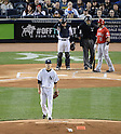 Masahiro Tanaka (Yankees),<br /> APRIL 27, 2014 - MLB :<br /> Pitcher Masahiro Tanaka of the New York Yankees reacts after getting Albert Pujols of the Los Angeles Angels to strike out swinging in the first inning during the Major League Baseball game at Yankee Stadium in Bronx, New York, United States. (Photo by AFLO)