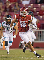 Hawgs Illustrated/BEN GOFF <br /> Jeremy Patton, Arkansas tight end, runs after a catch in the fourth quarter Saturday, Nov. 4, 2017, at Reynolds Razorback Stadium in Fayetteville.