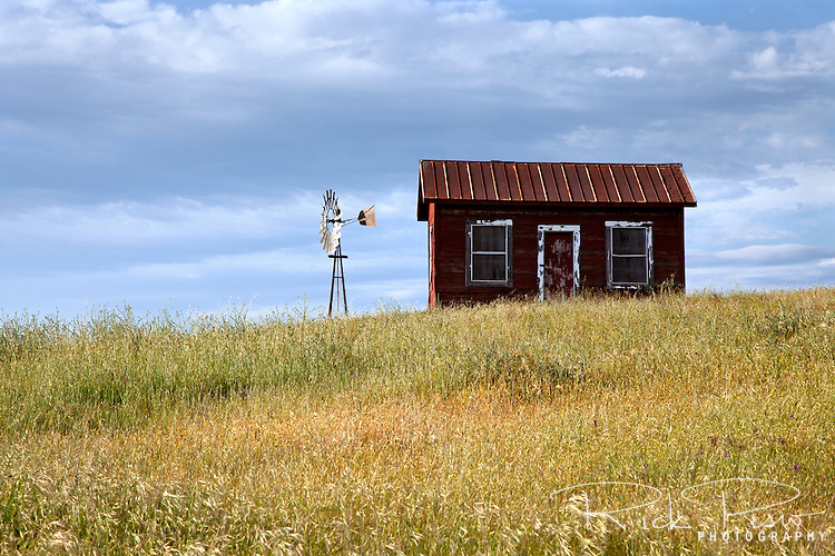 A small shack and windmill on a cattle ranch in the California foothills.