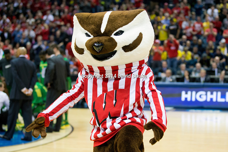 Wisconsin Badgers mascot Bucky Badger during the third-round game in the NCAA college basketball tournament against the Oregon Ducks Saturday, April 22, 2014 in Milwaukee. The Badgers won 85-77. (Photo by David Stluka)